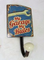 'MY GARAGE MY RULES' RETRO SIGN COAT HANGER GREAT GIFT FOR HIM DADS WAS £5.95..